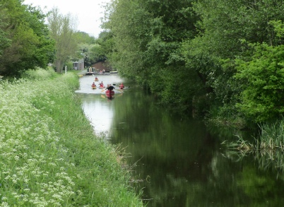 Montgomery Canal Triathlon canoeists leave the Queens Head